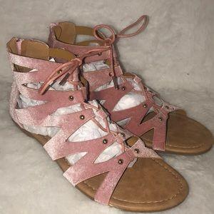 0ce2a6996ef7 ⬇️Blush pink velvet gladiator sandals